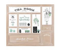 Tableau vitrine salon de thé en paulownia 70x60