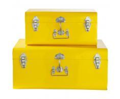2 malles en métal jaunes L 44 cm et L 56 cm