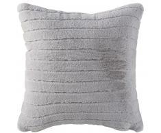 Coussin imitation fourrure grise à rayures ciselées 140x180