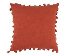 Coussin à pompons en coton terracotta 50x50