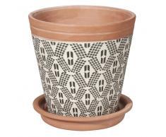 Cache-pot en terre cuite à motifs H14