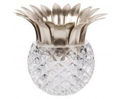 Bougeoir ananas en verre et métal doré