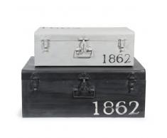2 malles en métal noires et grises effet vieilli L 57 et L 66 cm KANSAS