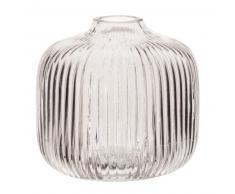 Vase en verre strié teinté gris H11
