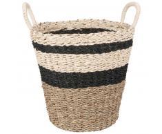 Corbeille en fibre de palmier à rayures noires