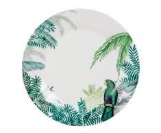 Assiette plate en porcelaine imprimé tropical PERROQUET