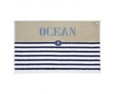 Tapis de bain rayé en coton bleu 50 x 80 cm OCÉAN