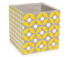 Cache-pot en ciment motifs jaunes H.11cm XALAPA