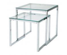 Table basse gigognes en verre et métal L 40 cm et L 45 cm Lexington