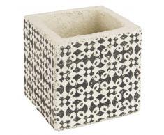 Cache-pot en ciment motifs marron H10