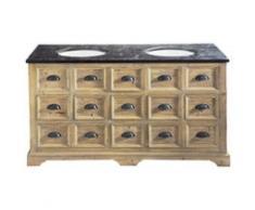 Meuble double vasque en bois et marbre L 160 cm St Quentin