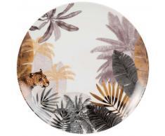 Assiette plate en porcelaine imprimé panthère
