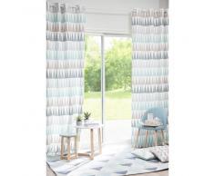 Rideau à œillets en coton bleu à motifs 110x250