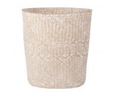 Panier à linge en fibre végétale blanchie