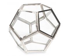 Bougeoir en verre et métal LUND
