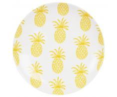 Assiette plate en faïence blanche motif ananas