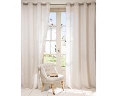 Rideau à œillets en coton et lin beige 140x250