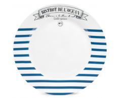 Assiette plate à rayures en porcelaine bleue D 27 cm MARINIÈRE