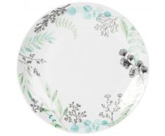 Assiette plate en faïence blanche imprimé feuilles