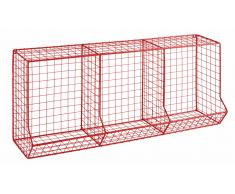 Casier 3 compartiments en fil de métal rouge CIRCUIT