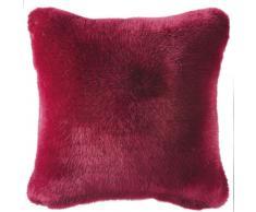 Coussin imitation fourrure rouge 45x45