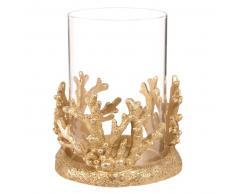 Bougeoir corail en verre et résine dorée