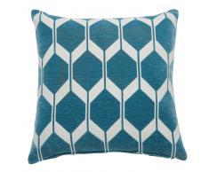 Coussin motifs bleu pétrole 45x45cm ASTON