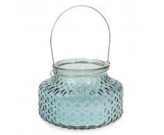 Bougie lanterne en verre et cire bleue ESCALE