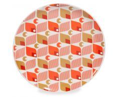 Assiette plate en faïence orange D 27 cm VINTAGE HOME