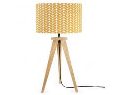 Lampe trépied en bois avec abat-jour à motifs H 58 cm BERLIN