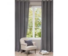 Rideau à œillets en lin lavé gris 130x300
