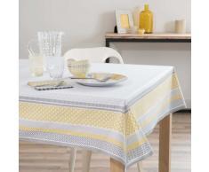 Nappe enduite en coton jaune/blanche 170 x 170 cm FARO