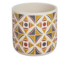 Cache-pot en céramique motifs carreaux de ciment H13