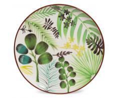 Assiette plate motif végétal en faïence D 27 cm JUNGLE