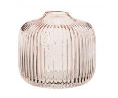 Vase en verre strié teinté rose H11
