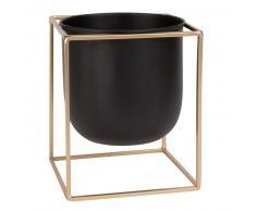Cache-pot en métal noir et doré H23