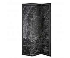 Paravent carte de New York noire et blanche