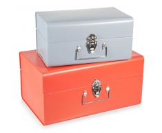 2 malles en métal orange/bleue L 21 et L 27 cm CAPRI