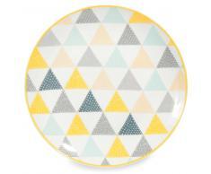 Assiette plate en porcelaine blanche à triangles LEMON