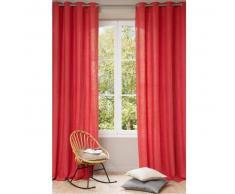Rideau à œillets en lin lavé rouge 130 x 300 cm