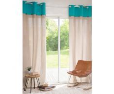 Rideau à œillets en coton beige/turquoise 110 x 250 cm WENDA