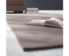 Tapis à poils courts en laine taupe clair 200 x 200 cm SOFT