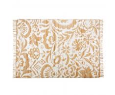 Tapis en jute et coton motifs blancs 160x230