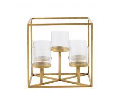Bougeoir photophore 5 bougies en verre et métal doré