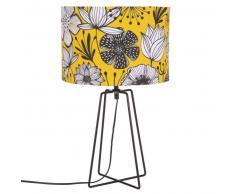 Lampe en métal noir et abat-jour imprimé floral