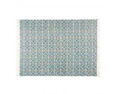 Tapis en coton bleu à motifs 140x200cm BLOCALIA