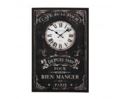 Horloge en bois noire 40 x 60 cm BRASSERIE