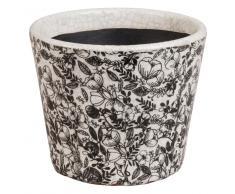Cache-pot en céramique imprimé fleurs noires H12