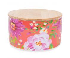 Pot en porcelaine orange motifs fleurs BOHÈME