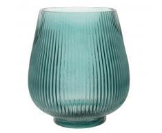 Photophore en verre strié bleu canard H20